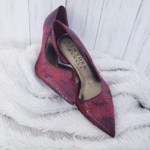 Red & Black Snakeskin Vegan Leather Heels Pointy